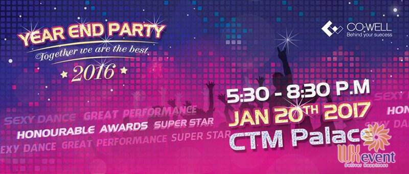 Mẫu backdrop Year End Party thiết kế theo xu hướng màu gradien