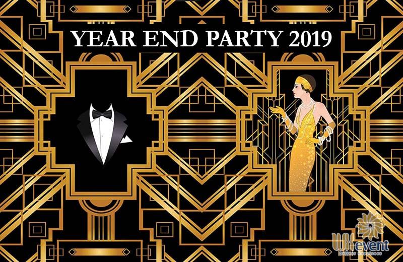 Mẫu background tiệc tất niên 2019 concept Gastby Party