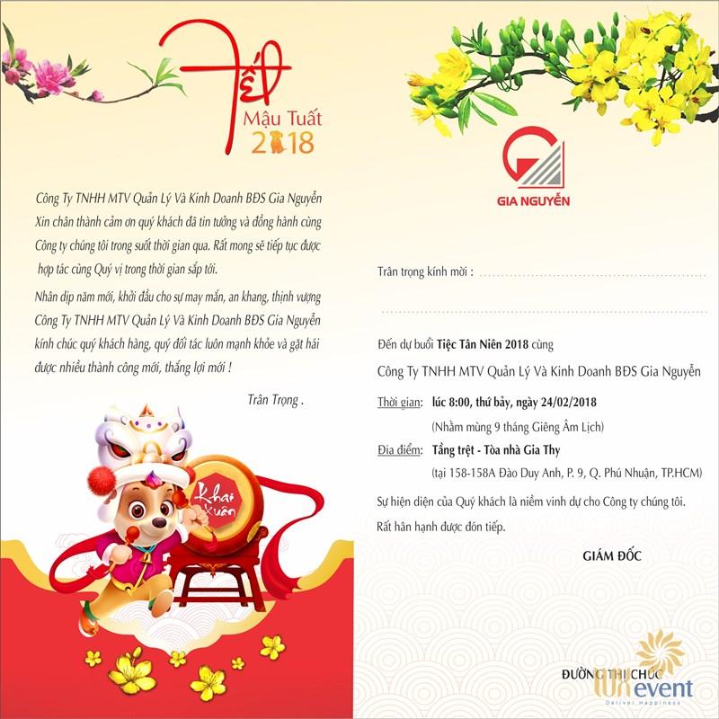 Mẫu thư mời tiệc tất niên cho khách hàng