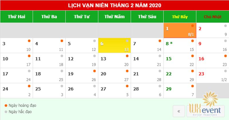 Ngày hoàng đạo khai trương trong tháng 2 năm 2020