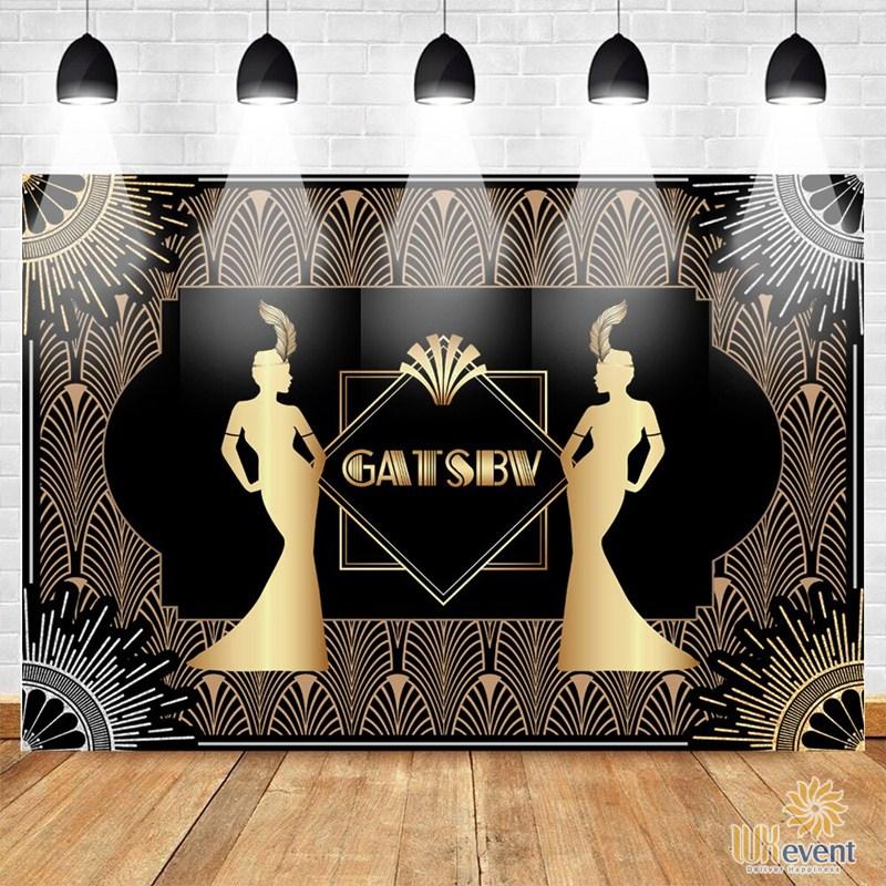 mẫu backdrop gala dinner concept gatsby party