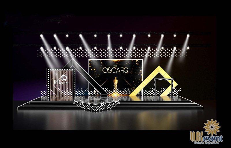 Mẫu backdrop tiệc tất niên concept Oscar Night